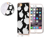 Middle Finger Series TPU Bumper and PC Clear Hard iPhone 7 Case - Black
