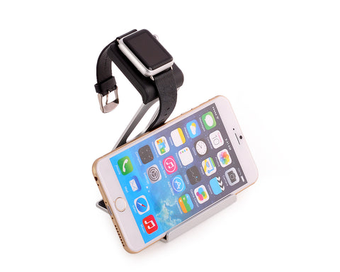 38mm/ 42mm Apple Watch Charging Stand Phone Holder - Silver