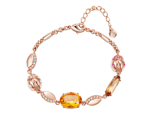 Graceful Beetle Orange Bling Swarovski Crystal Bracelet