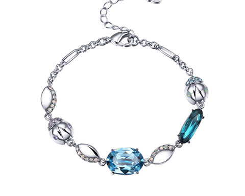 Graceful Beetle Blue Bling Swarovski Crystal Bracelet
