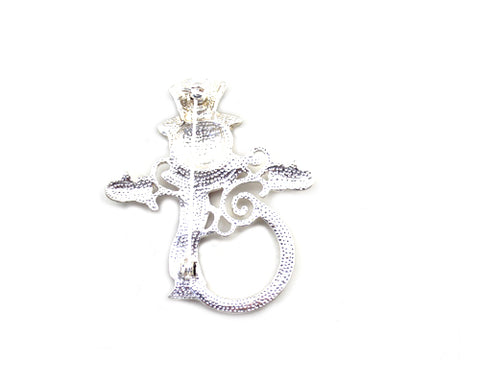 Xmas Snowman Crystal Brooch Pin
