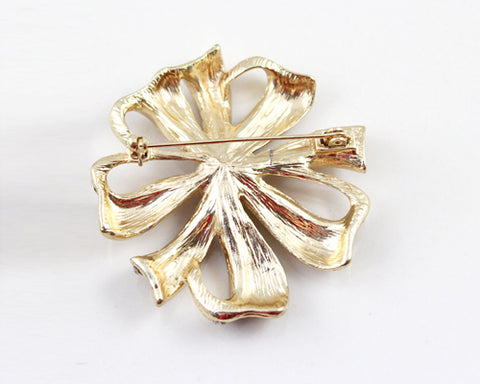 Rosette Gold Crystal Brooch Pin
