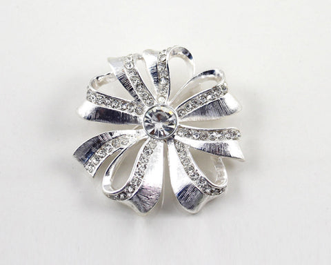 Rosette Silver Crystal Brooch Pin
