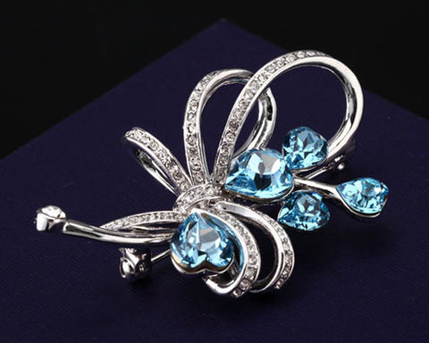 Nosegay Blue Bling Swarovski Crystal Brooch Pin