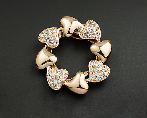 Rounded Heart Gold Crystal Brooch Pin
