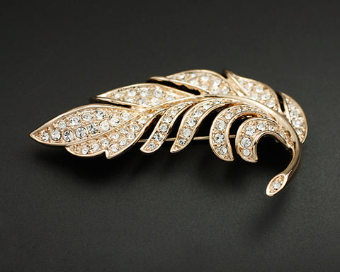 Plumage Crystal Brooch Pin