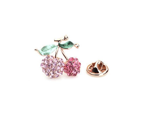 Cherry Pink Crystal Brooch Pin