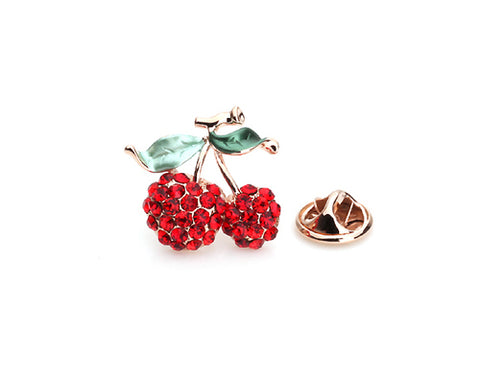 Cherry Red Crystal Brooch Pin