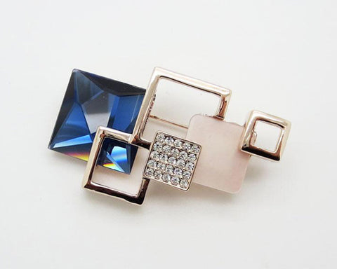 Geometric Square Blue Crystal Brooch Pin