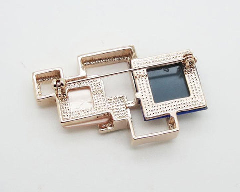 Geometric Square White Crystal Brooch Pin