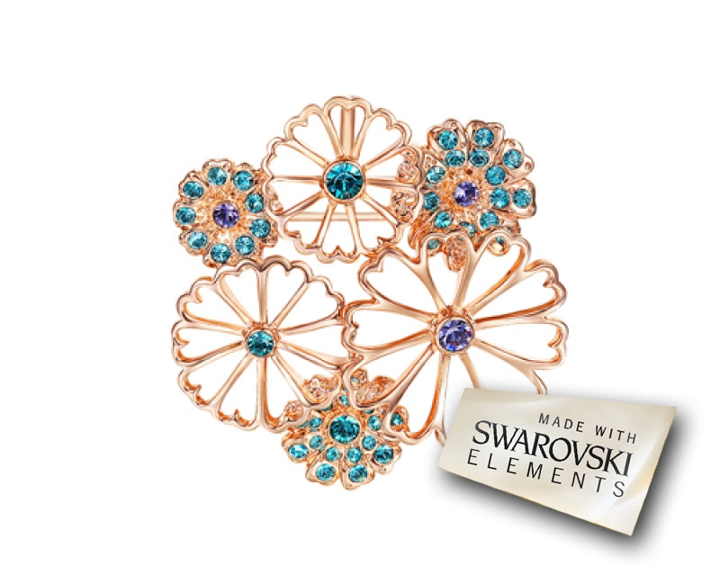 Chrysanthemum Flower Bling Swarovski Crystal Brooch Pin