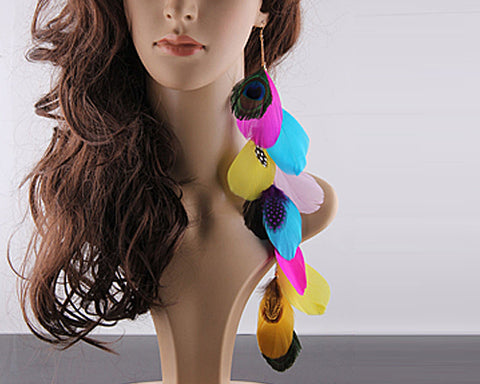 Bohemian Long Feather Magenta Earrings