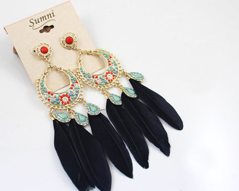 Bohemian Feather Black Circle Dangle Earrings