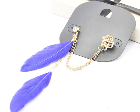 Bohemian Feather Blue Ear Cuff With Chain Earrings