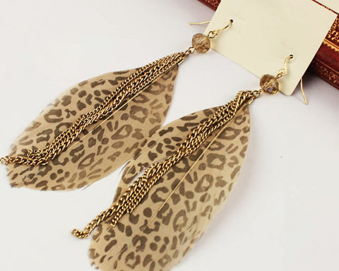 Leopard Bohemian Feather Brown Tassel Earrings