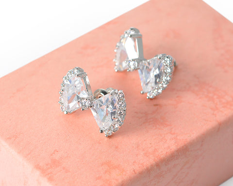 Sparkle Bowknot Crystal Stud Earrings for Women