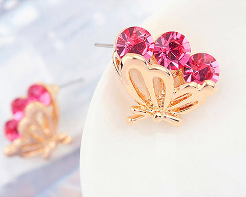 Charming Magenta Butterfly Stud Earrings
