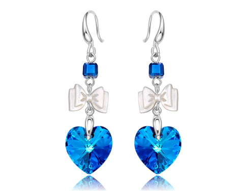 Adorable Ribbon Blue Bling SWAROVSKI Crystal Hook Earrings