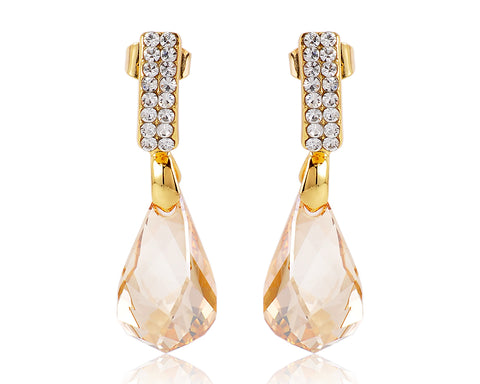 Drip Champagne Bling Swarovski Crystal Earrings