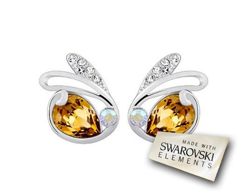 Adorable Rabbit Shaped Bling Swarovski Crystal Stud Earrings