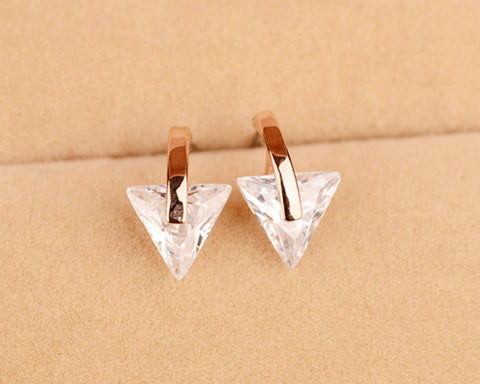 Chic Triangle Crystal Stud Earrings for Womens