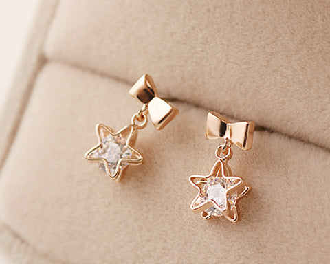Star Wish Crystal Earrings Studs for Women