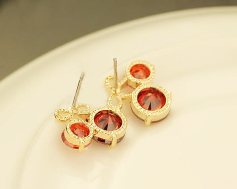 Red Cherry Crystal Stud Earrings