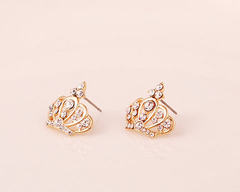 Lovely Crown Crystal Stud Earrings for Women