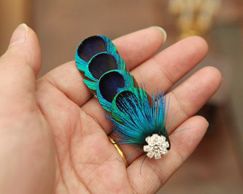 Bohemian Peacock Feather Hair Clip