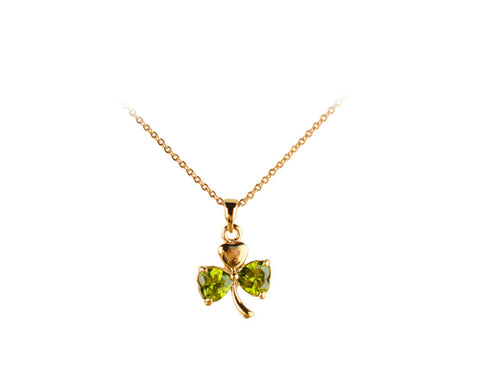 Three-leaf Clover Green Crystal Necklace