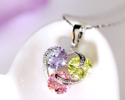 Three In Love Crystal Necklace