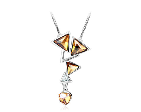 Triangle Drop Bling Swarovski Crystal Necklace