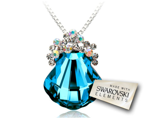 Fancy Shell Blue Bling Crystal Necklace