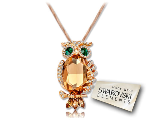 Vivid Owl Bling Crystal Necklace