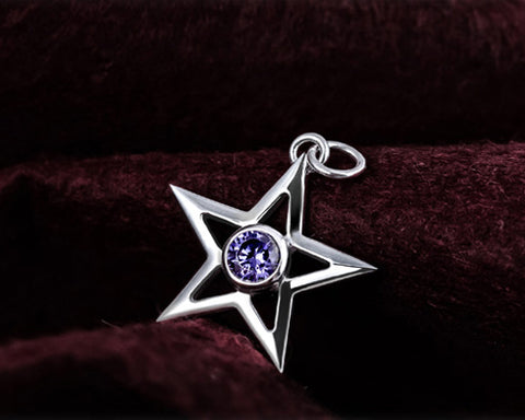 Lucky Star 925 Sterling Silver Crystal Necklace - Purple