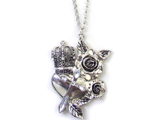 Vintage Rose Prince Crystal Necklace - Silver