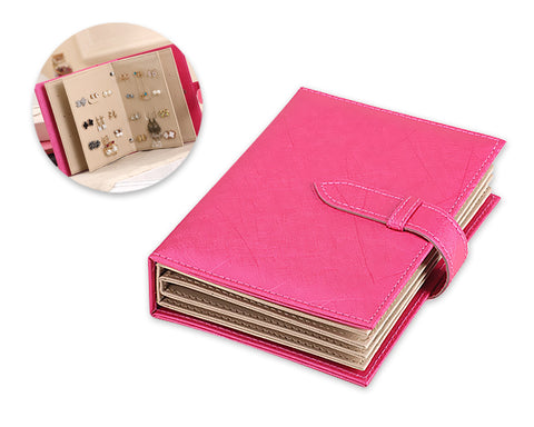 Portable Jewelry Organizer Earring Storage Book - Magenta
