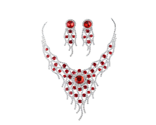 Charming Red Rhinestone Wedding Necklace and Earrings Jewelry Set