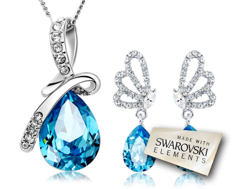Teardrop Bling Swarovski Crystal Jewelry Set
