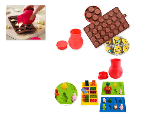 Chocolate Molds Silicone Baking Molds with Free Melting Pot
