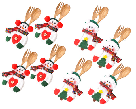 8 Pcs Snowman Cutlery Holders for Christmas