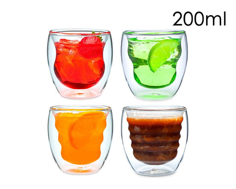 Double Walled Coffee Glasses Set of 4