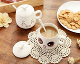 2 Pcs Facial Expression Series Ceramic Coffee Cup