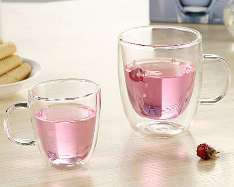 Double Walled Coffee Glasses with Handles Set of 2