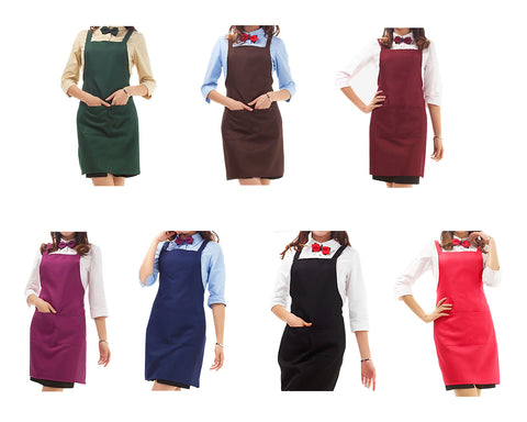Women Kitchen Cooking Aprons with 2 Front Pockets