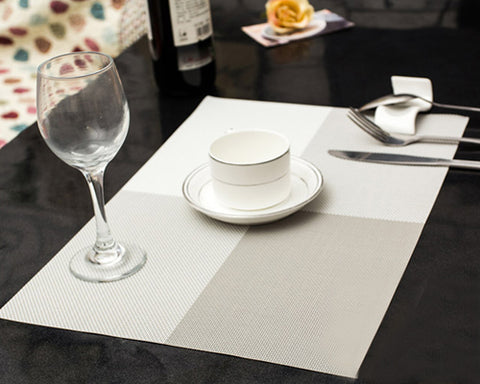 6 Pcs Colorful Insulated Stain Free Table Placemat - Gray
