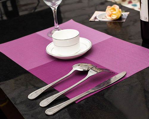 6 Pcs Colorful Insulated Stain Free Table Placemat - Purple