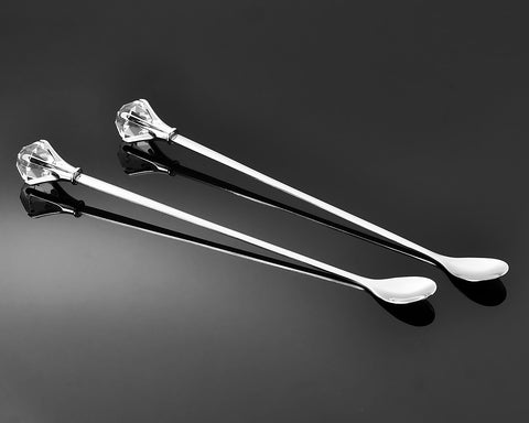 2 Pcs Stainless Steel Long Handle Drink Spoon with Crystal