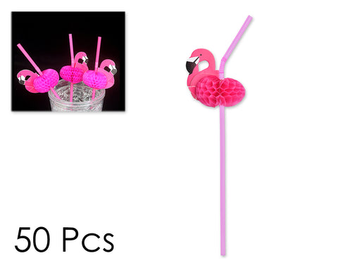 50 Pieces Flamingo Straws Decorate Party Supplies Set - Pink