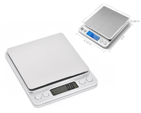 2000g x 0.1g Stainless Steel Digital Scale with Two Trays